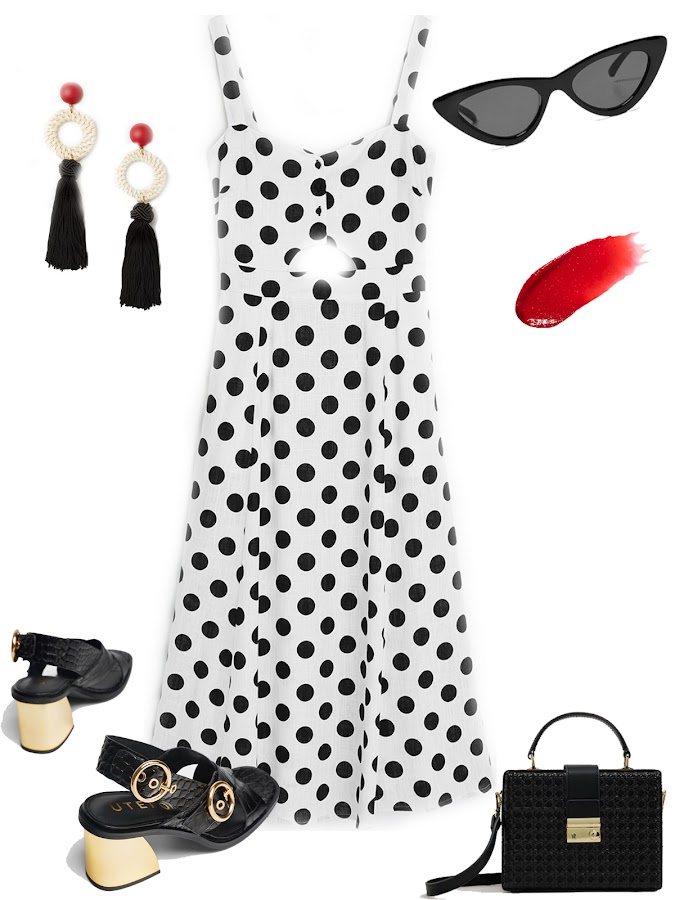 Dots midi dress outfit