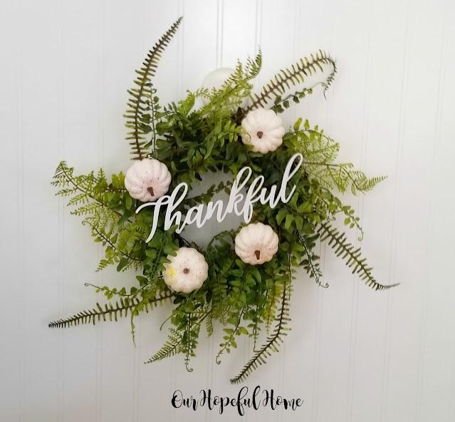 faux fern wreath baby boo white pumpkins Thankful fall decor