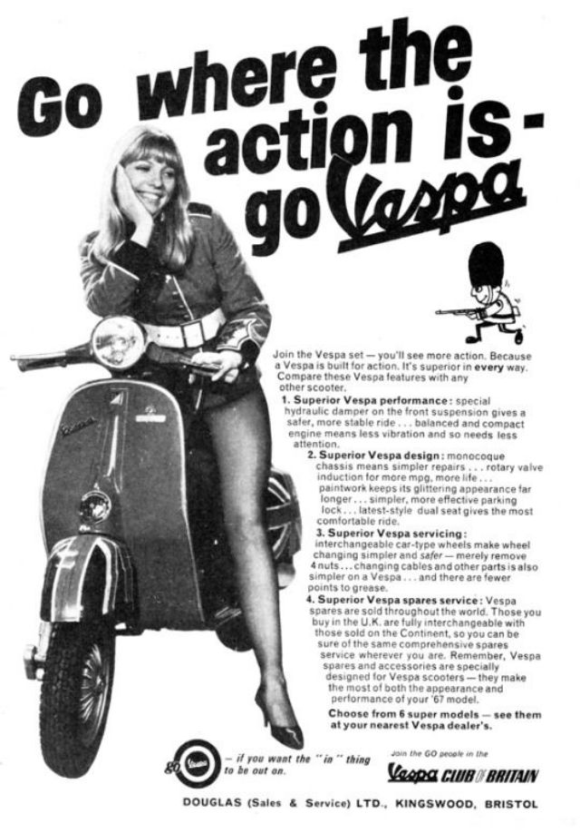 1925 Rolls Royce Phantom >> 32 Interesting Vintage Vespa Ads Around the World From Between the 1950s and 1970s ~ vintage ...