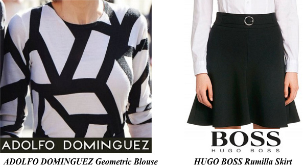 Queen Letizia's ADOLFO DOMINGUEZ Geometric Blouse and HUGO BOSS Rumilla Skirt
