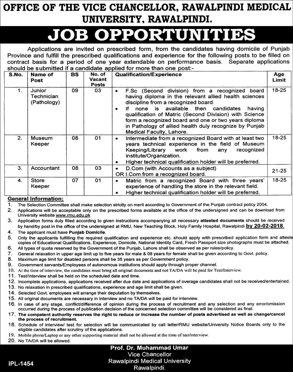 Rawalpindi Medical University Jobs 2018