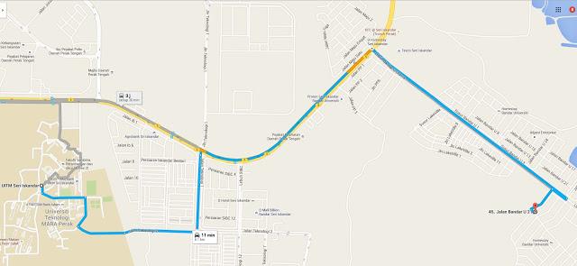 jarak dari Homestay ke UITM Seri Iskandar Perak