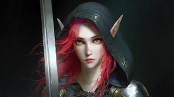Elf, Fantasy, Girl, Sword, Warrior, 4K, #4.3088