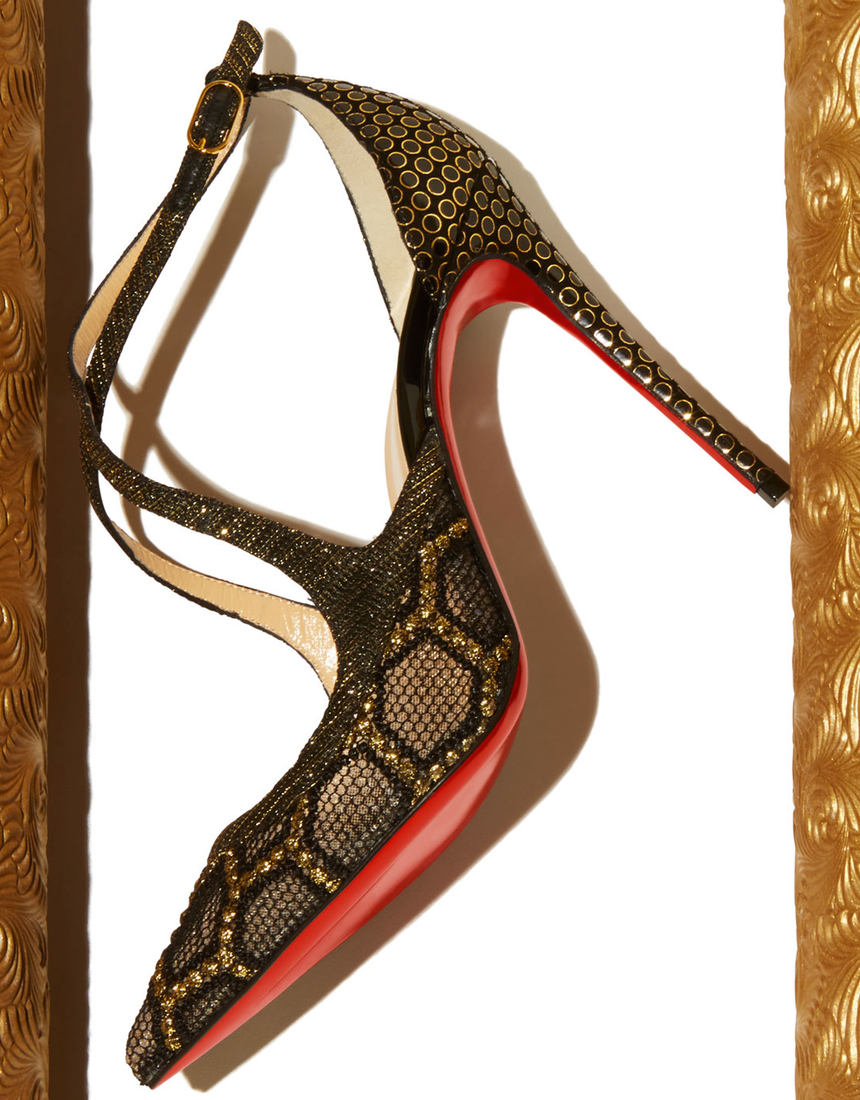 Christian Louboutin Twistissima Crisscross Red Sole Pump, Black/Gold