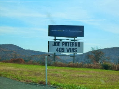 Joe Paterno 409 Wins Billboard Sign on Route 322/22