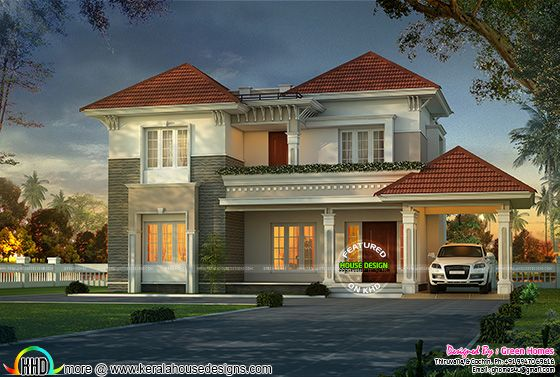 Stylish and elegant home design in red roof