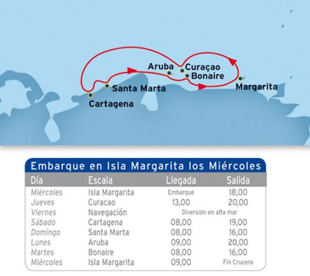 Nuevo itinerario por el caribe de los cruceros Pullmantur, saliendo desde Venezuela. Nueva ruta de crucero por el Caribe.
