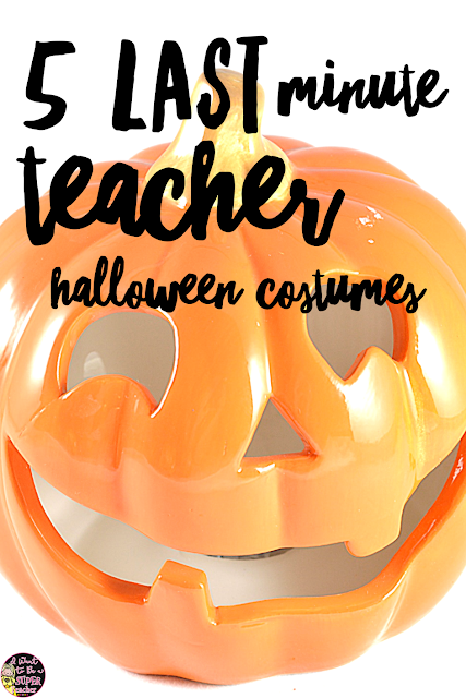5 quick and easy ideas for teacher Halloween costumes! Need something easy and creative for yourself or elementary grade level group? Check out these super simple DIY costume ideas that can be made with items in your closet!