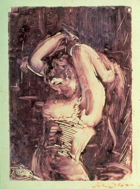 Woman Brushing her Hair monotype printed in lavender ink