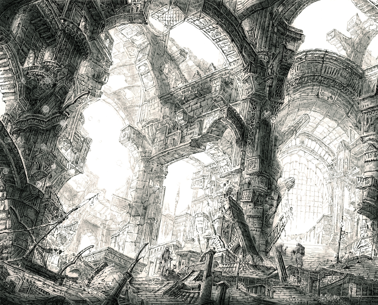 18-Buttress-Columns-Mita-Mitauzo-実-田-く-ら-Intricate-Japanese-Architectural-Drawings-www-designstack-co