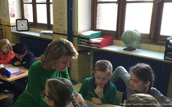 Queen Mathilde of Belgium visits the Victor Horta school Saint-Gilles in Brussels.