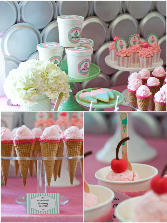 Ice Cream Parlor Desserts Table and Printables - via BirdsParty.com