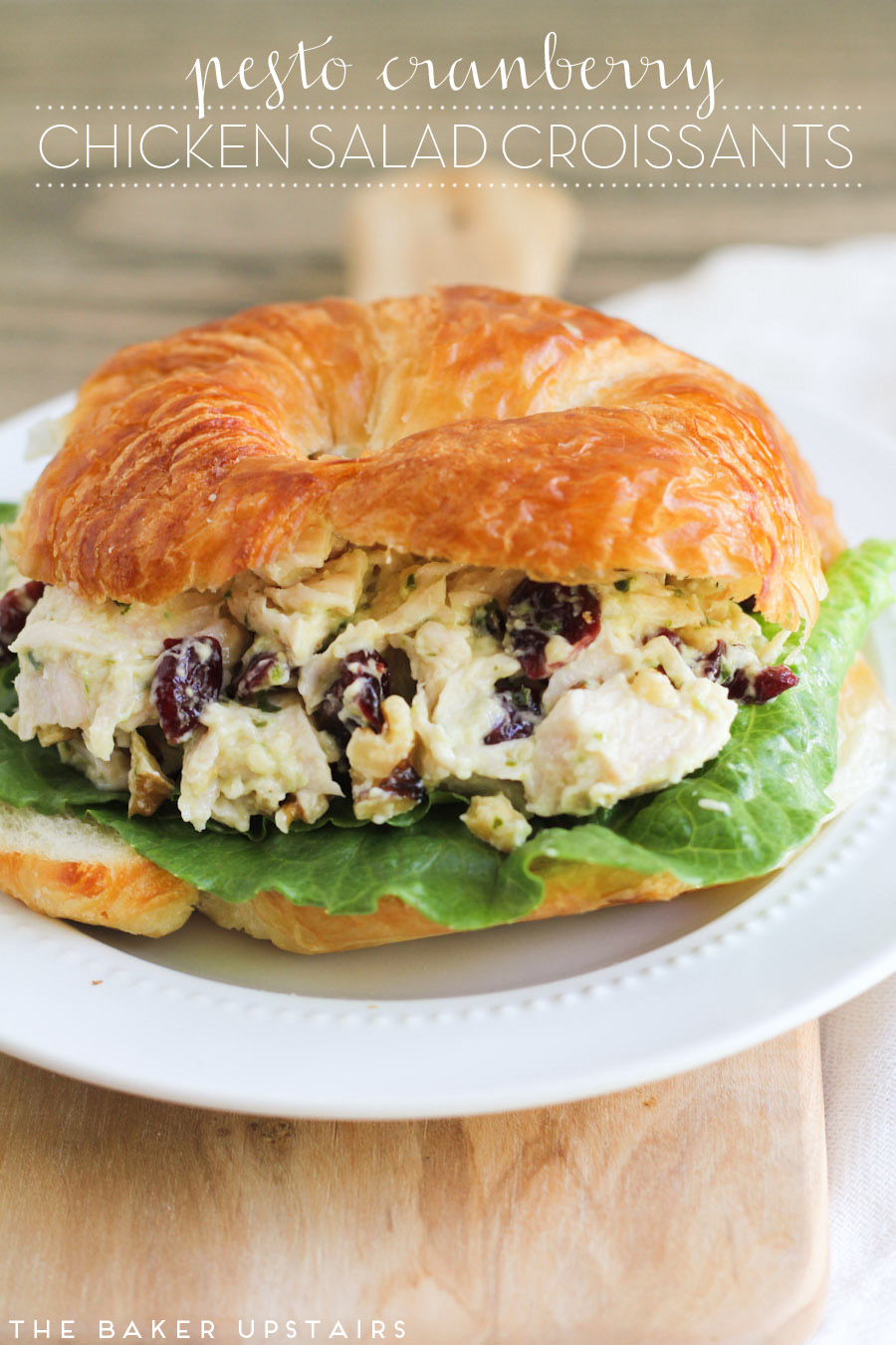 The Baker Upstairs Pesto Cranberry Chicken Salad Croissants
