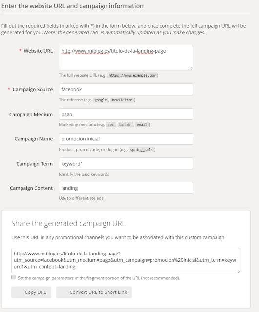 Parametros del creador de URLS de Google
