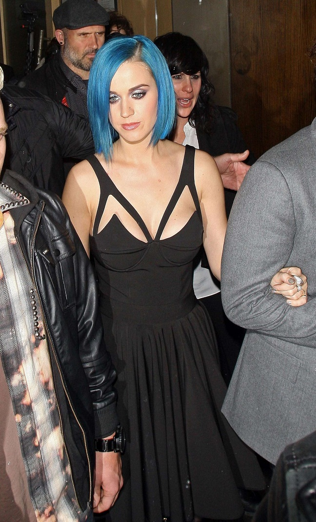 katy perry rocks little black dress with blue hair
