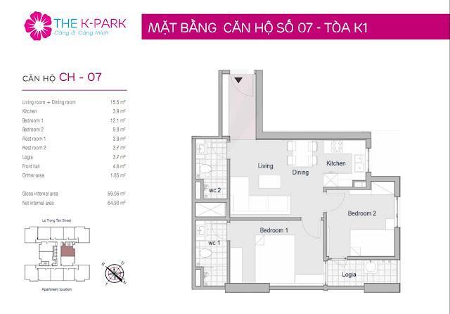 Thiết kế căn hộ 07 - Dt 59m2 - 02 phòng ngủ