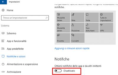 Disattivare notifiche Windows 10
