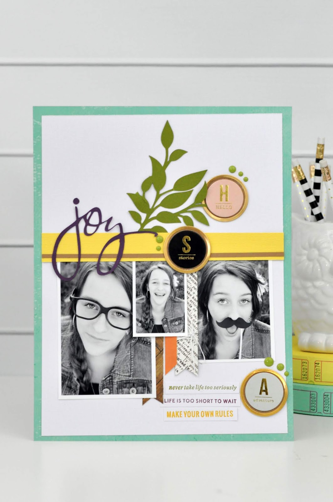 """""""Joy"""" layout featuring a Kerri Bradford sketch. Layout is designed by Jen Gallacher using a sketch and a stamp set from Kerribradford.com. #scrapbooking #scrapbooksketch #kerribradford #jengallacher"""