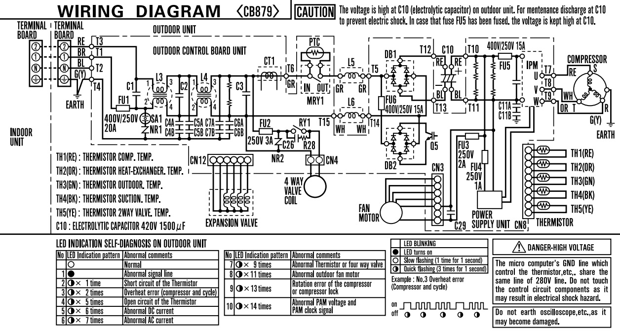 Sharp xp09er split air conditioner led blinking codes self outdoor unit wiring diagram asfbconference2016 Images