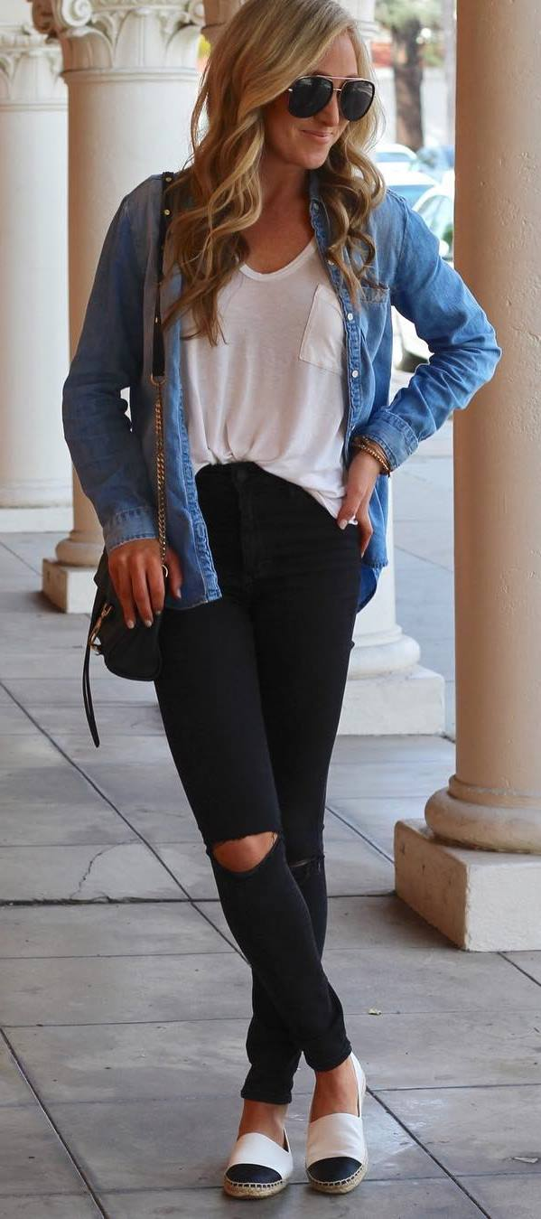 ootd | denim shirt + white top + bag + black ripped jeans