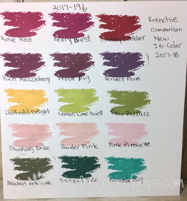 Stampin'Up! In Color 2017-19 comparison