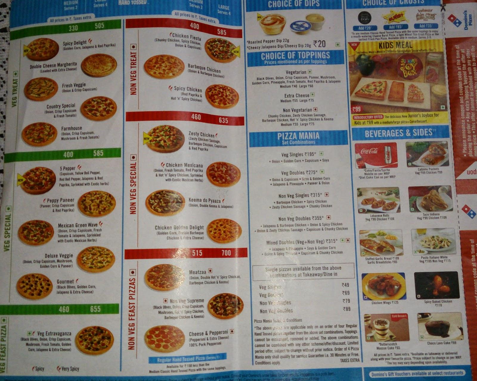 Dominos menu