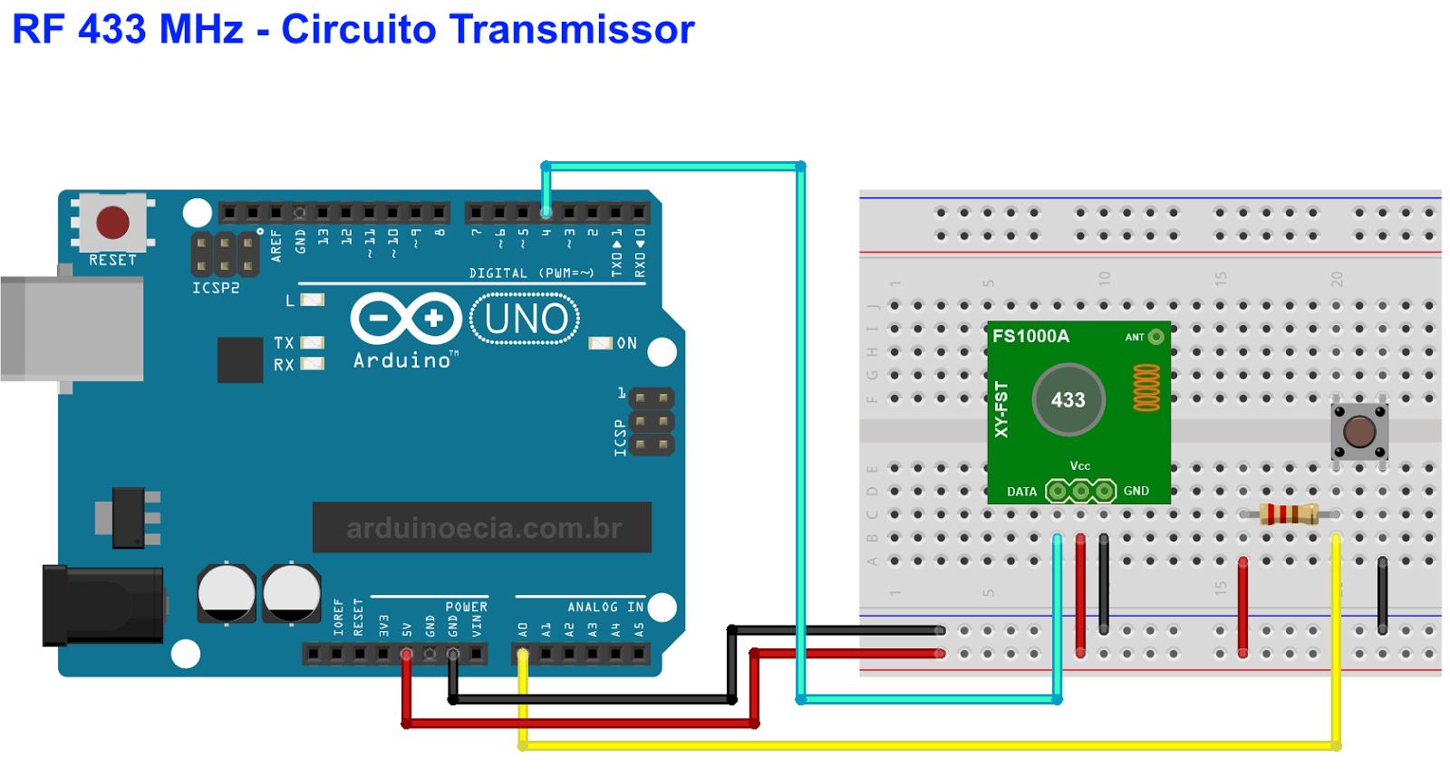 Circuito Arduino Módulo RF 433 MHz - Transmissor