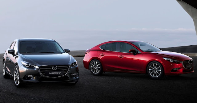 2017 Mazda 3 red and grey