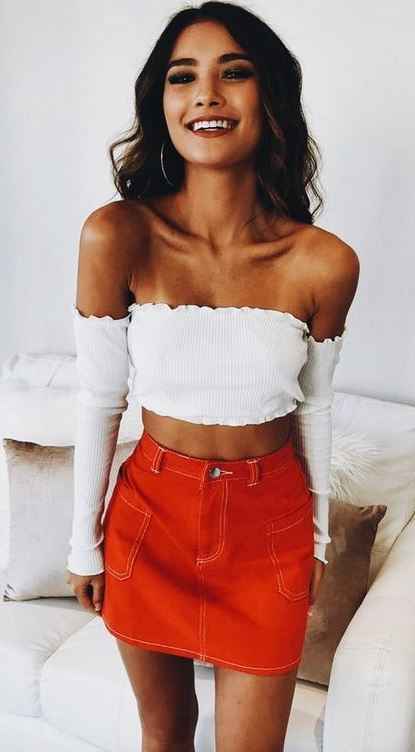 Casual Look   white off shoulder top and red skirt