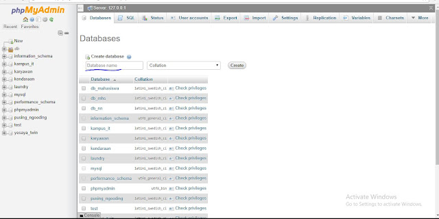 Membuat Database Dengan phpmyadmin