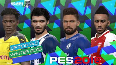 PES 2016 Next Season Patch 2018 Option File 31/01/2018