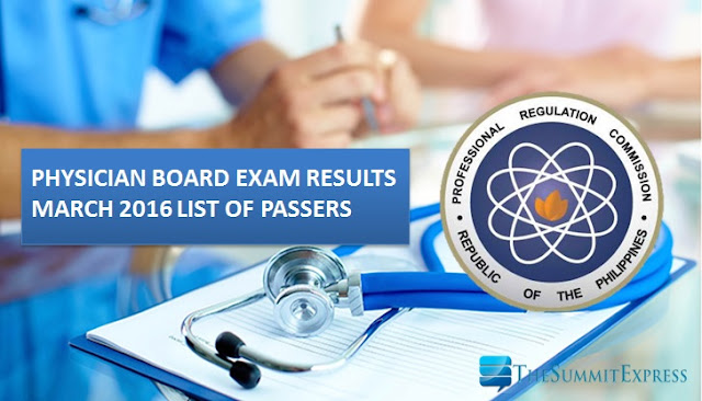 March 2016 Physician board exam results