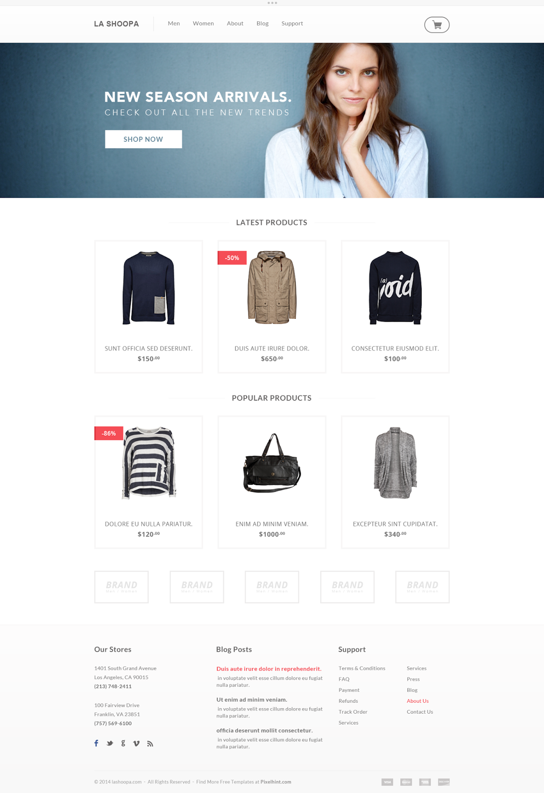 Free PSD Template eCommerce Website