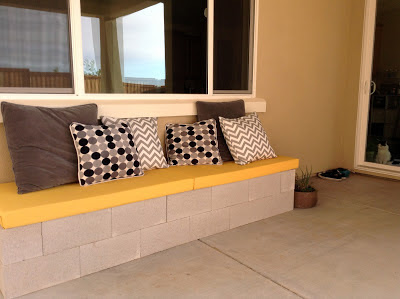 finished cinder block bench