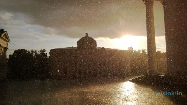 Sun and pouring rain in Helsinki