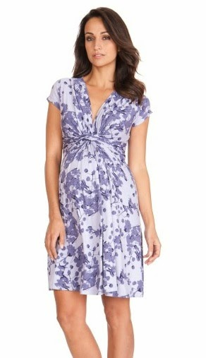 Lavender Blossom Knot Front Maternity Dress