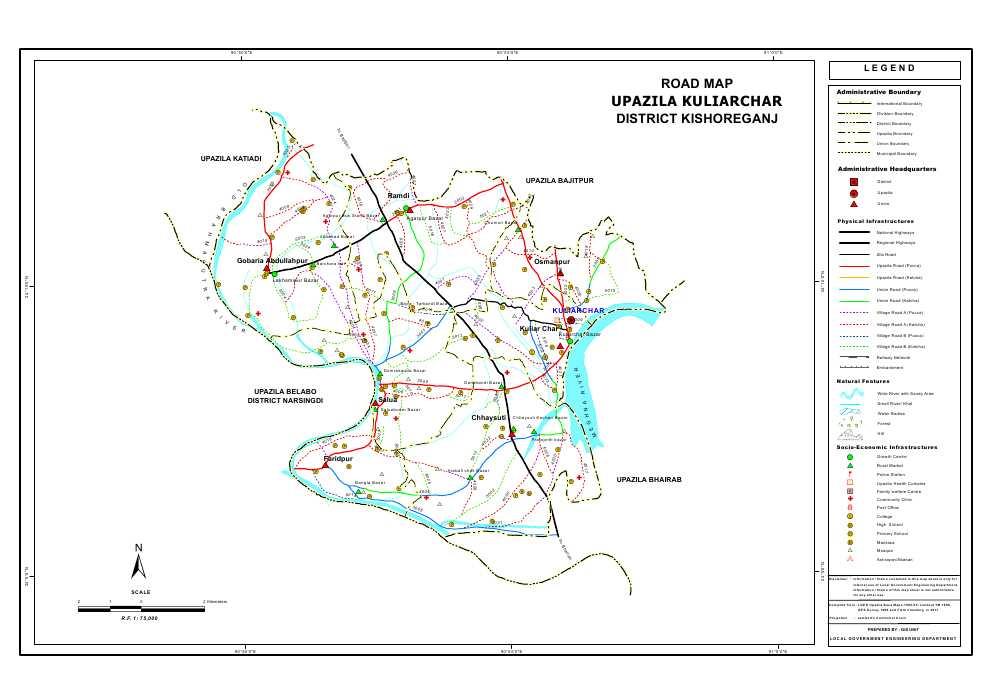 Kuliarchar Upazila Road Map Kishoreganj District Bangladesh
