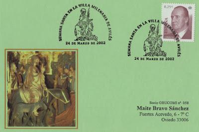 Tarjeta del matasellos de Semana Santa en Avilés, dedicado al Domingo de Ramos