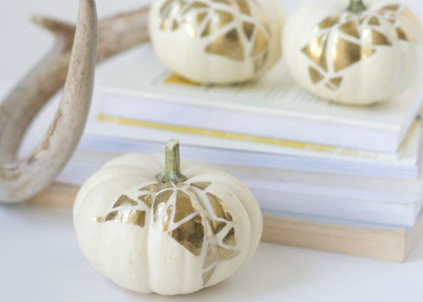 DIY Gold Geo No-Carve Pumpkins