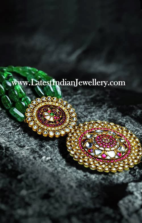 Emerald Beads Kundan Meenakari Pendant Latest Indian