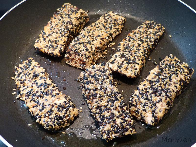 Cuisson du saumon : 1 minute de chaque côté.