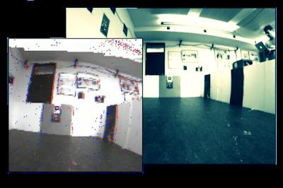 Un algoritmo de odometría visual utiliza eventos de cambio de brillo de baja latencia de un sensor dinámico de Vision (DVS) y los datos de una cámara normal para proporcionar valores de brillo absolutos. La fotografía muestra el marco de la cámara, y la foto de la izquierda muestra las actividades de DVS (que se visualiza en rojo y azul), además de la escala de grises de la cámara.