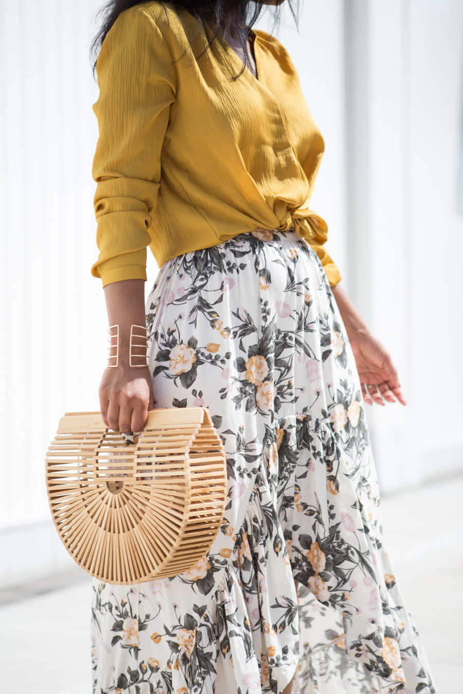 ruffles, tiered, maxi skirt, petite fashion, petite style, petite-friendly, petite maxi skirt, satin sliders, satin sandals, yellow, gold, affordable style, trendy, feminine style, colorful style, style tips, ann taylor, style under $50