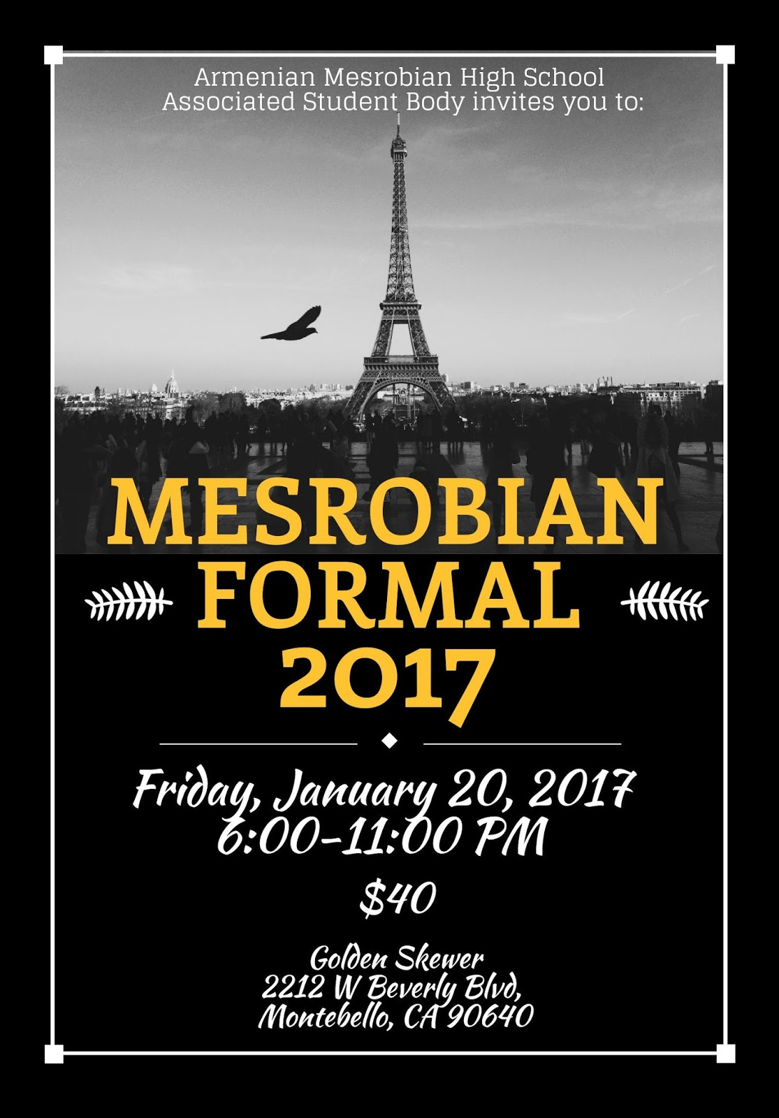 ... School: 9TH - 12TH GRADE: HIGH SCHOOL WINTER FORMAL: FRI., JAN. 20TH