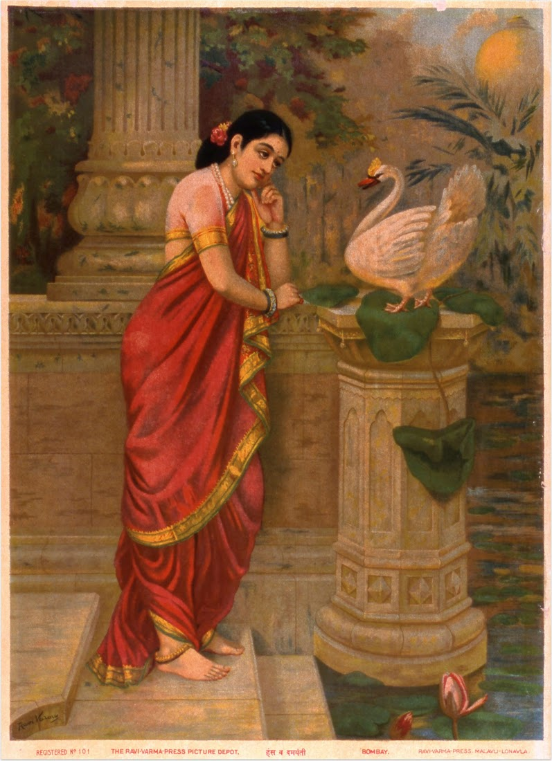 Hamsa and Damayanti, oleograph on paper by Raja Ravi Varma - Early 20th Century