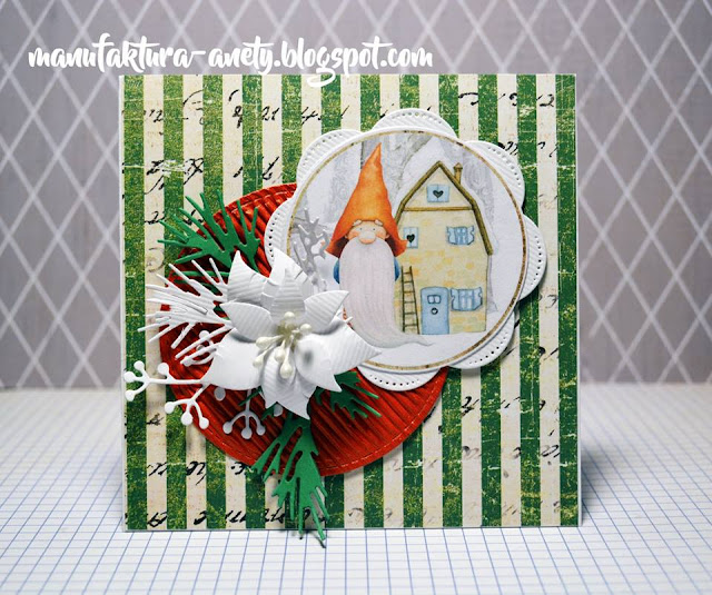 świąteczna kartka z gnomem