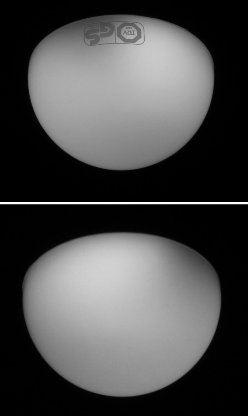 Livarno lux led lamp 7w E27 lidl, Model Z31795A, accesa, vista frontale