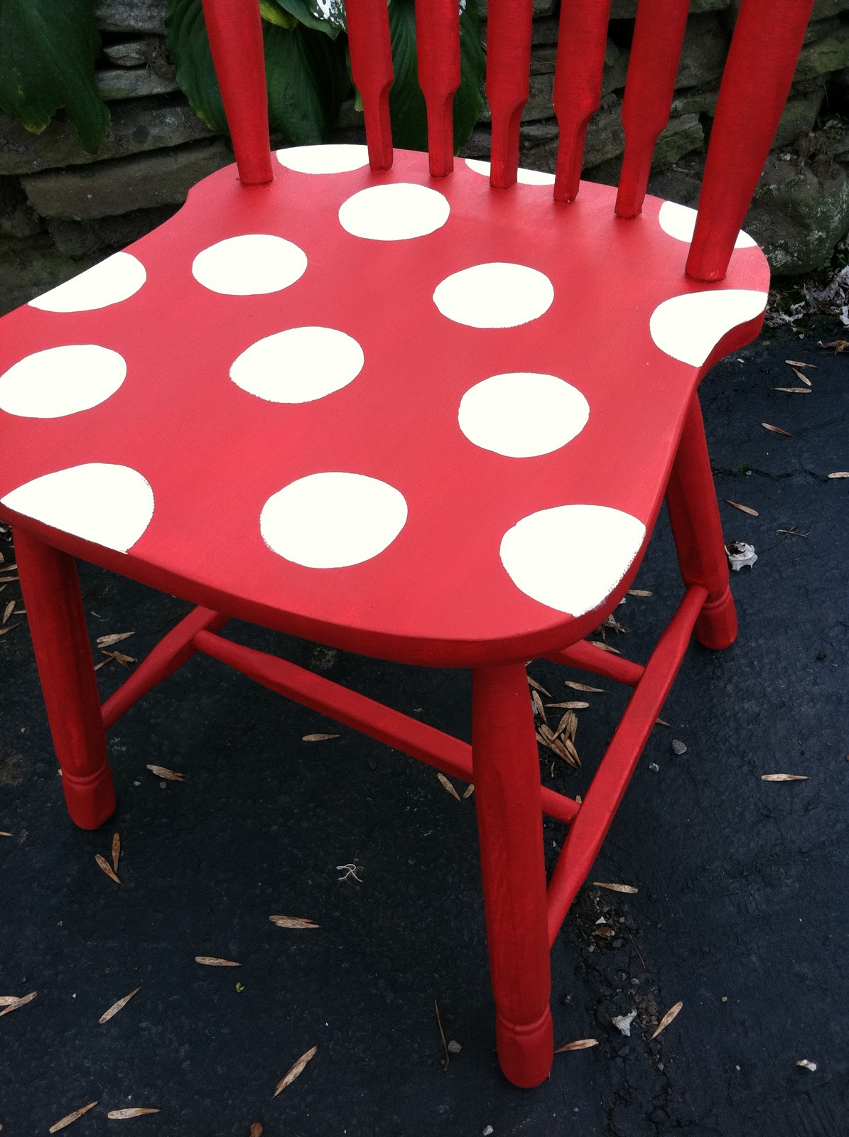 The Blessed Nest: Hand Painted Polka Dot Chair For Sale