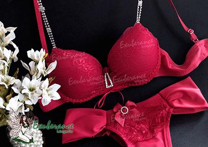 conjunto de lingerie rubi com alça e fivelas em cristais