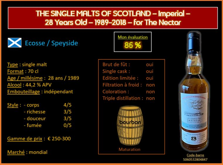 Review #569 : The Single Malts of Scotland – Imperial – 28 Years Old – 1989-2018 – for The Nectar